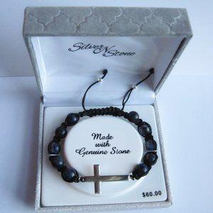 Silver N Stone Sideways Silver Cross Bracelet, Box